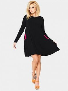 Fearne Cotton Long Sleeve Swing Dress with pretty pink accents