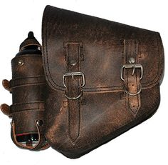La Rosa Harley-Davidson Softail Chopper Rustic Brown Leather Left Saddle Bag with Extra Fuel Gas Bottle