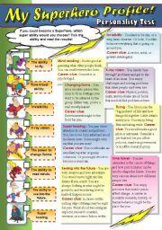 English worksheet: MY SUPERHERO PROFILE!  - PERSONALITY TEST FOR TEENS!