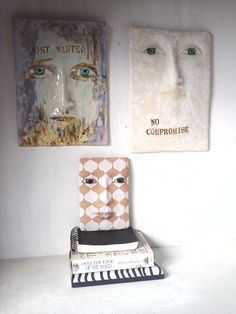 Most Wanted refers to Ned Kelly, the colonial bushranger. No Compromise was made as part of a series of perennial philosophical quotes. The small baby wall sculpture is one of a series designed along a Moroccan theme.