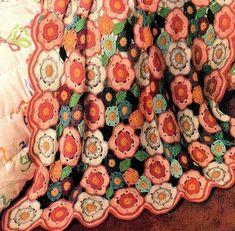 Vintage crochet flower blanket (photo by YesterdaysMagic)   Happy in Red