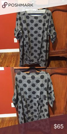 Tunic with funky sleeves and bottom Lagenlook for sure!  Sleeves have tucks and the bottom of the tunic is asymmetrical and tucked also. Grey with black polka dots Yea Tops Tunics