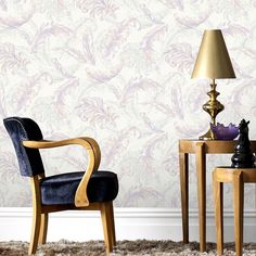 Gilded Feather Pink / Lilac Wallpaper by Graham and Brown