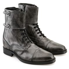 Bruxelles - Bespoke elevator boots | Upper in grey burnished full grain leather, insole and midsole in genuine leather, leather heel with special anti-slip rubber. Hand Made in Italy.