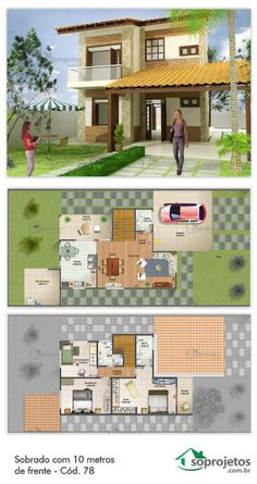 Sobrado com dois dormitórios e uma suíte. Garagem com 25,55 m2 de área. Salas de estar e jantar conjugadas, e cozinha bem ampla. Telhado em telha de barro.
