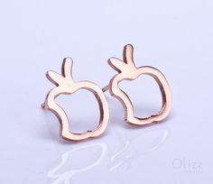 Apple earrings / Rose gold stud earrings / Apple by OlizzJewelry