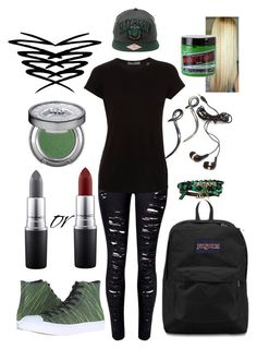 """""""Last Week of School Day 4"""" by choice-to-be ❤ liked on Polyvore featuring WithChic, Vince, JanSport, Forever 21, Converse, Urban Decay, Noir Cosmetics and MAC Cosmetics"""