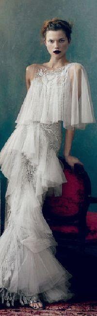 2 - gorgeous white ruffled perfection. Designer n/a          jaglady