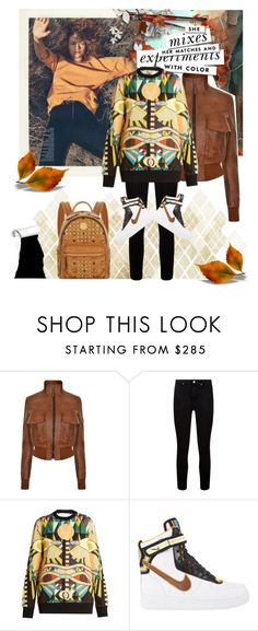 """""""Color Express.."""" by kiwipeach ❤ liked on Polyvore featuring Belstaff, Kate Spade, Paige Denim, Givenchy, NIKE, MCM and falljacket"""