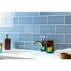 Ivy Hill Tile Magnitude Blue 4 in. x 8 in. x Polished Ceramic Subway Wall Tile pieces / sq. / box) - - The Home Depot Blue Subway Tile, Ceramic Subway Tile, Glass Subway Tile, Blue Tiles, Blue Glass Tile, Kitchen Buffet, Kitchen Tile, Kitchen Design, Kitchen Reno