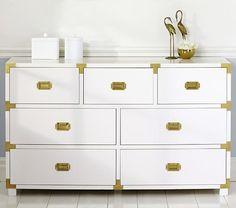 Gemma Campaign Dresser, Extra Wide White Dresser