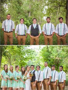 Groom and groomsman looks: khaki pants, teal suspenders and bow ties.