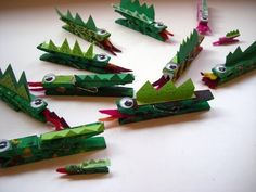 hook, dragons, preschool playground, clothespin crafts, crocodil