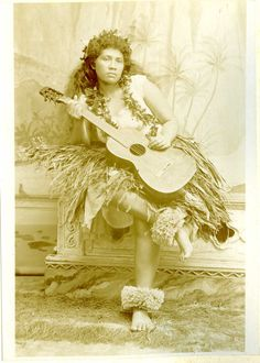 vintage girl with guitar | Hawaii Native Hula Girl Original Citrate Print 1900 | eBay
