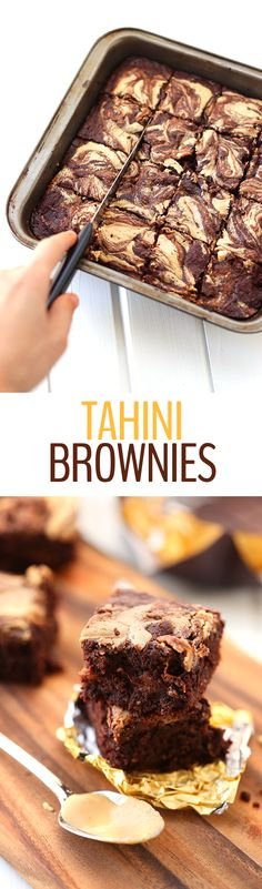 These decadent but still healthful tahini brownies are made with a rich dark chocolate and a creamy tahini base to create an exciting new twist on a classic brownie recipe. You'll wonder why you never thought to mix tahini with brownies before!