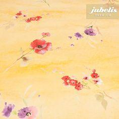 jubelis® Gewebe-Wachstuch extradicke Qualität Design Gelise gelb mit roten und violetten Blumen