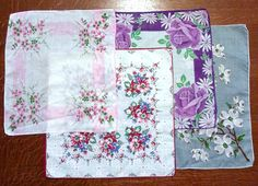 Vintage 4 Floral Printed Handkerchiefs From The by VintageOutLoud