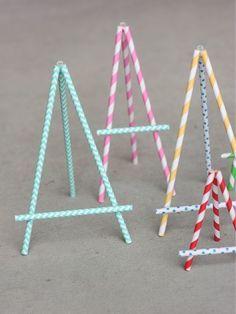 Wants and Wishes: Party planning: Paper Straw Easel DIY Paper Straw Easel would work great for food labels at an art party. Should you love arts and crafts you really will love this site! Fun Crafts, Crafts For Kids, Paper Crafts, Straw Crafts, Kunst Party, Papier Diy, Art Birthday, Paper Straws, Craft Fairs