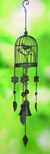 """Metal Bird Cage Flower Bell Wind Chime 31"""""""