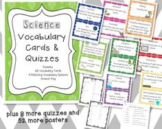 Science Vocabulary Posters and Quizzes $