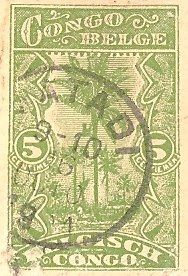 Congo DR - Stamp, 5 centimes  Congo Belge (Belgian Congo - now called: Democratic Republic of the Congo)  5 centimes    postmarked in 1921 on a postcard from Matadi-Leopoldville in Congo, Africa