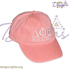 Adorable Delta Phi Epsilon embroidered hat! Coral Pigment washed DPhiE hat now available at DPhiE Designs!