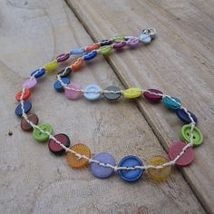Button necklace in bright cheerful colours