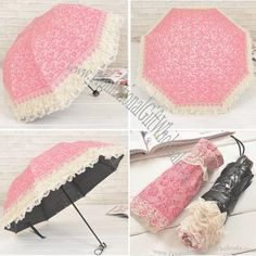 Lace 3 Fold Umbrella with Black Coating Made in China #3406857206