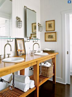 My Home Ideas: Cottage bathroom design with white paneled walls, rustic wood bathroom vanity with ...