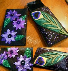 Beautiful wool felt Iphone cases in blacks, lavenders, greens and indigo, with hand stitched details.