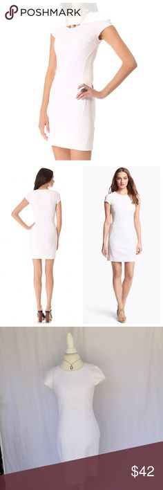 Diane von Furstenberg DVF Pele Eyelet/Jersey Dress Diane von Furstenberg DVF Pele Eyelet/Jersey Dress in white.  Form fitting with hidden back zipper.                              Size: 6 Condition: Very Good Used Condition   🚫No Trades ⚖️Open to Offers 💵Bundle! 3 items ➡️ 20% Off, 5+ ➡️ 30% Off 💖Happy Shopping Diane von Furstenberg Dresses
