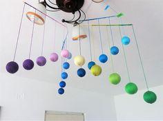 Handmade Montessori-inspired baby mobiles & toys by lilhandstoys Mobile Montessori, Montessori Baby, Baby Yoga, Styrofoam Ball, Baby Sensory, Warm Colors, Colours, Loom Knitting, Car Seats