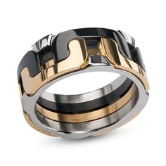 Men's+9.5mm+Interlocking+Wedding+Band+in+Tri-Tone+Stainless+Steel