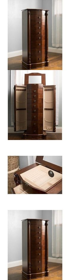 Jewelry Boxes 3820: Jewelry Armoire Chest Box Tall Storage Cabinet Stand Wood Organizer Walnut New BUY IT NOW ONLY: $315.95
