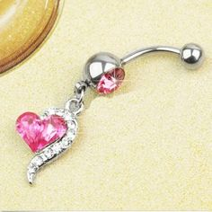 1 pcs rose rouge strass cristal coeur haltères barre de nombril ventre bouton anneau piercing