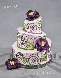 Wedding Cake Photos | The Cake Gallery Omaha. violet, purple and green on white