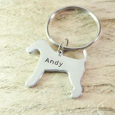 Airedale Terrier  Dog Keychain Pet  by Handmadenamenecklace
