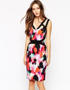 French Connection | French Connection Pencil Dress in Miami Graffiti Print at ASOS