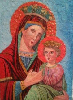 The Virgin and The Child (tempera and acrylic on egg shells)