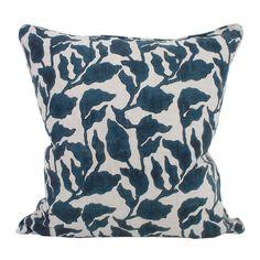 Flores pacific blue linen cushion 50x50cm - Walter G
