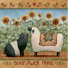 """Sunflower Trail"" buy Teresa Kogut #pigs #sheep #sunflower #farm #farmlife #quilt"