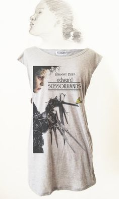 90s Movie Poster Edward Scissorhands Johnny Depp TShirt by Videofe, $8.00