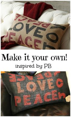 peace love joy inspired #potterybarn  NO sew pillow
