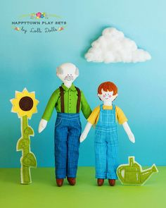 Happytown Play Set - Sam and Grandpa Work In The Garden  - PDF doll patterns by LolliDolls on Etsy https://www.etsy.com/listing/207766653/happytown-play-set-sam-and-grandpa-work