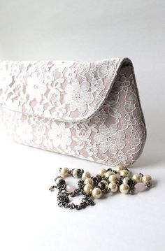 Lace Bridal Bag, Blush Pink Wedding Clutch Purse