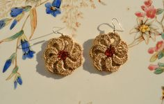 crochet - flower earrings with bead centres - pretty