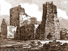 Georgian Woodcut Engraving of Saxon St Mary-in-Castro Church and Roman Pharos Ruins, Dover Castle, Kent, England, UK. Originally King Lucius church, later re-consecrated and dedicated by St Augustine to St Mary the Virgin, and AD 46 Roman lighthouse or watchtower as seen  circa 1834 (may be Victorian). Pharos was once  used as a bell tower, or belfry. English Heritage Listed Building. Norman and Medieval History. More information at http://www.panoramio.com/photo/55570953