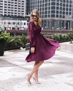 Chicago fashion blogger Visions of Vogue features a stunning and flattering burgundy Holiday Dress from Nordstrom. Click here now to see it and shop! #holidaydress #holidayfashion #partydress