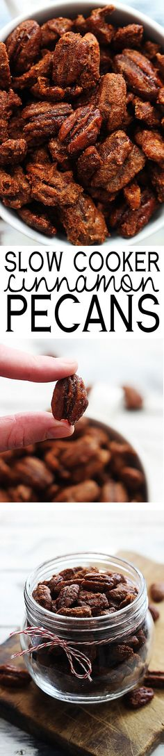Seriously the easiest and BEST cinnamon pecans made right in your crock pot! These are dangerously addicting!! (Fall Bake Gifts)