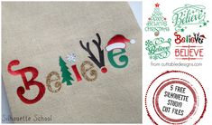 Christmas believe five ways free Silhouette Studio cut files
